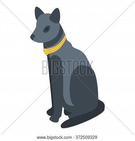 Egyptian Black Cat Icon. Isometric Of Egyptian Black Cat Vector Icon For Web Design Isolated On Whit