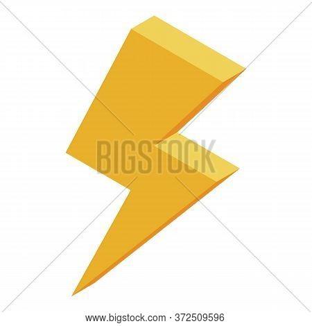 Lightning Bolt Icon. Isometric Of Lightning Bolt Vector Icon For Web Design Isolated On White Backgr