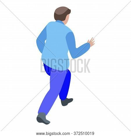 Zombie Man Running Icon. Isometric Of Zombie Man Running Vector Icon For Web Design Isolated On Whit