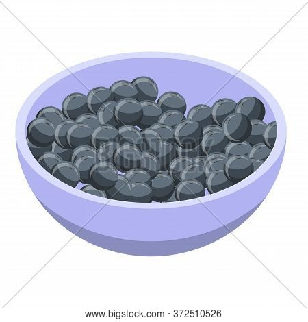 Blackberry Bowl Icon. Isometric Of Blackberry Bowl Vector Icon For Web Design Isolated On White Back