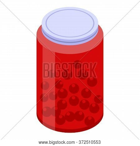 Red Berry Jam Jar Icon. Isometric Of Red Berry Jam Jar Vector Icon For Web Design Isolated On White