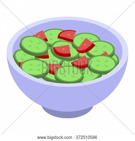 Tomato Cucumber Salad Icon. Isometric Of Tomato Cucumber Salad Vector Icon For Web Design Isolated O
