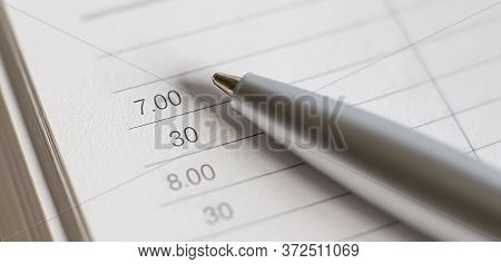 Business Diary. Empty Paper Sheets With Numbers And Dates, Metal Pen.trendy Self-organization Concep