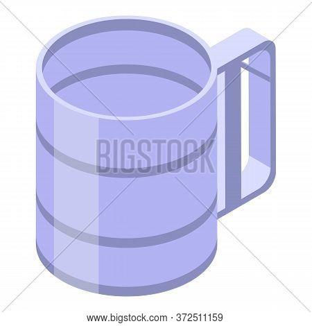 Steel Mug Icon. Isometric Of Steel Mug Vector Icon For Web Design Isolated On White Background