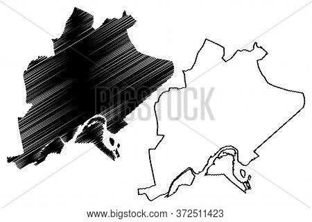 Bandar Seri Begawan City (nation Of Brunei, The Abode Of Peace, Borneo) Map Vector Illustration, Scr