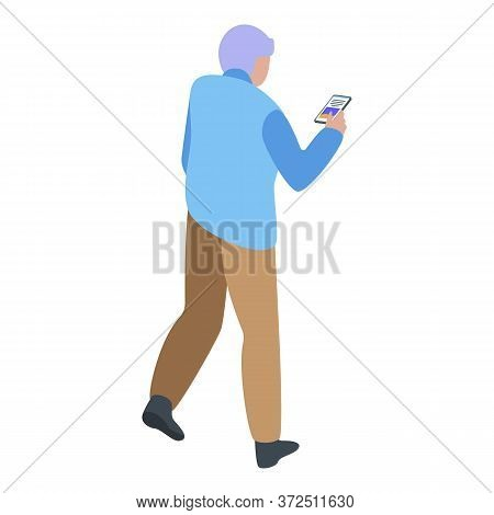 Grandfather With Smartphone Icon. Isometric Of Grandfather With Smartphone Vector Icon For Web Desig