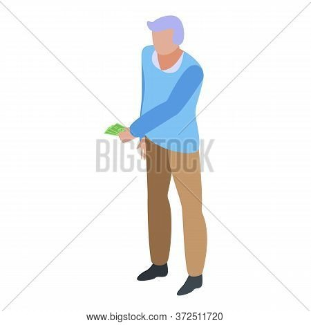 Grandfather Make Payment Icon. Isometric Of Grandfather Make Payment Vector Icon For Web Design Isol