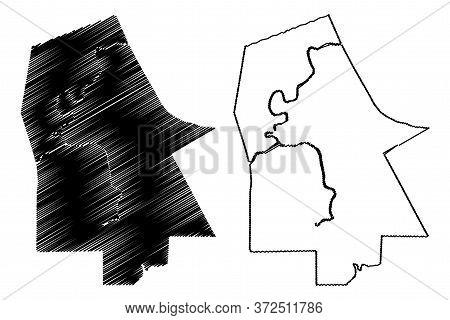 Ta Khmau City (kingdom Of Cambodia, Kampuchea, Kandal Province) Map Vector Illustration, Scribble Sk