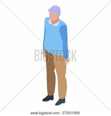 Tired Grandfather Icon. Isometric Of Tired Grandfather Vector Icon For Web Design Isolated On White