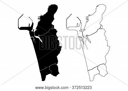 Colombo City (democratic Socialist Republic Of Sri Lanka, Western Province) Map Vector Illustration,