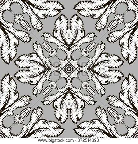 Embroidery Baroque Vector Seamless Pattern. Floral Monochrome Damask Background. Tapestry Flowers, L