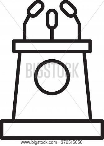 Black Line Stage Stand Or Debate Podium Rostrum Icon Isolated On White Background. Conference Speech