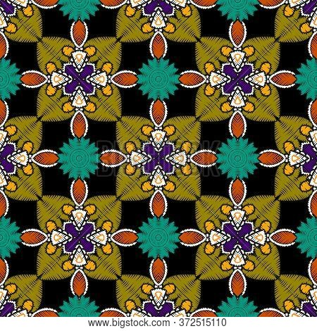 Tapestry Floral Colorful Vector Mandalas Seamless Pattern. Ornamental Textured Bright Background. Tr