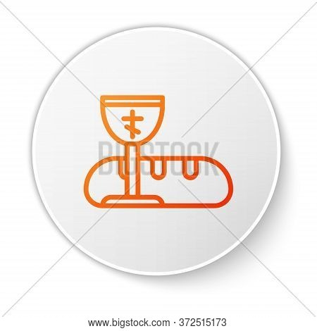Orange Line First Communion Symbols For A Nice Invitation Icon Isolated On White Background. White C