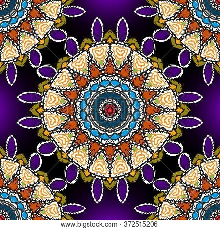 Tapestry Floral Colorful Vector Mandalas Seamless Pattern. Ornamental Textured Glowing Background. T