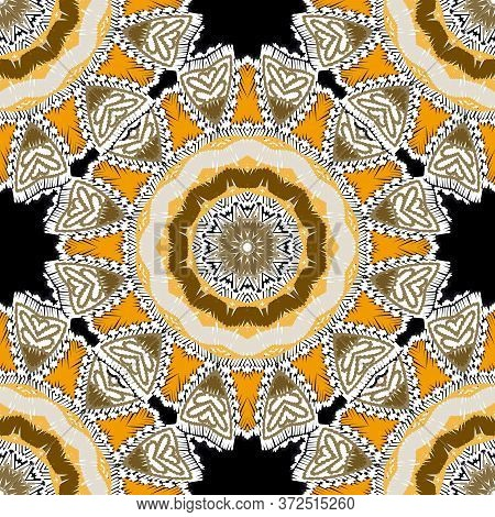 Tapestry Floral Colorful Vector Mandalas Seamless Pattern. Ornamental Textured Ornate Background. Tr