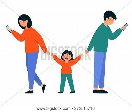 Parents Ignore Their Child. A Man And A Woman Look At Smartphones And Do Not Pay Attention To Crying