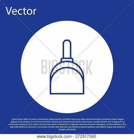 Blue Line Dustpan Icon Isolated On Blue Background. Cleaning Scoop Services. White Circle Button. Ve
