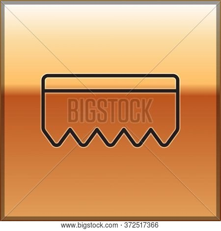 Black Line Sponge With Bubbles Icon Isolated On Gold Background. Wisp Of Bast For Washing Dishes. Cl