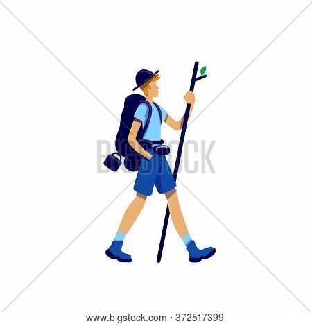 Trekker Flat Color Vector Faceless Character. Traveller Walk With Stick On Expedition. Man Go On Adv
