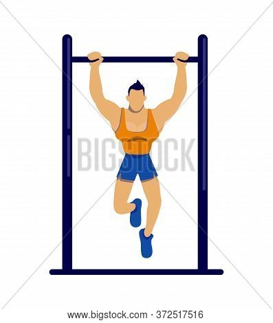 Athlete Exercising On Bar Flat Color Vector Faceless Character. Sportsman Doing Pull Ups. Muscular M