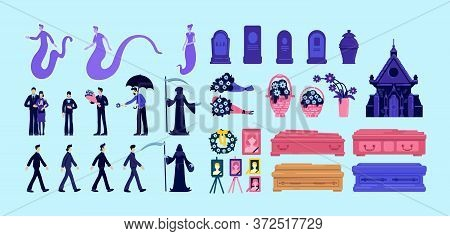 Death And Funeral Flat Color Vector Objects Set. Ghosts And People In Grief. Coffins And Flower Bouq