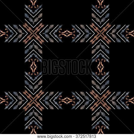 Embroidery Plaid Baroque Vector Seamless Pattern. Colorful Floral Grunge Background. Carpet. Vintage