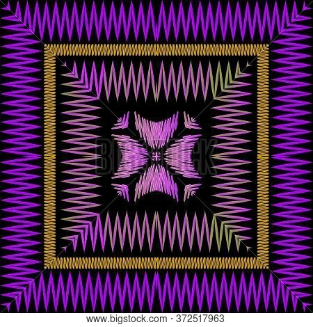 Chevron Embroidery Violet Vector Seamless Pattern. Stitching Textured Zigzag Background. Tapestry Re