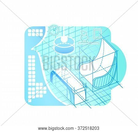 Interior Modeling In Cyberspace 2d Vector Web Banner, Poster. Virtual Reality Design Flat Object On