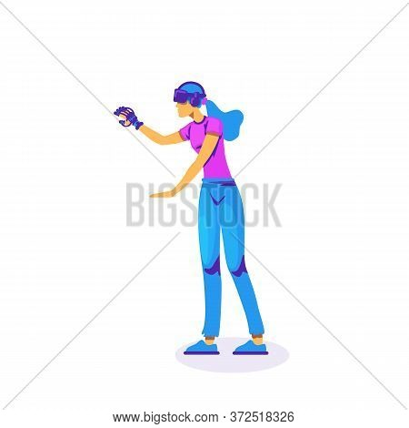 Vr Innovative Experience Flat Color Vector Faceless Character. Woman With Glove And Headset. Virtual