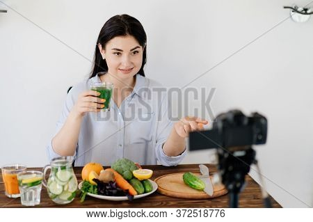 Dietary Blog, Healthy Cooking, Online Channel. Nutritionist Blogger Recording New Video With New Det
