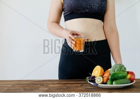 Fit Woman With Fresh Raw Detox Smoothie. Clean Eating, Weight Loss, Healthy Dieting Food