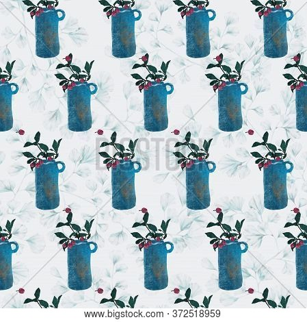 Title Blue Vase Seamless Repeat Pattern. Leaf Pattern Background, Little Cherry, Kitchen, Home Deco