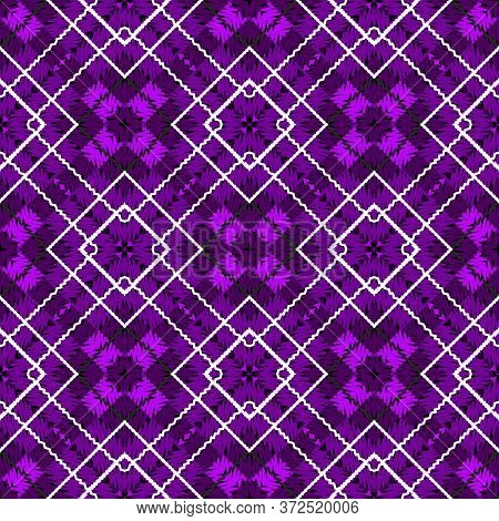 Tartan Embroidery Colorful Vector Seamless Pattern. Stitching Striped Textured Plaid Background. Tap