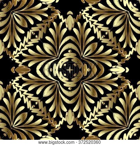 Tapestry Gold Floral 3d Seamless Pattern. Embroidery Ornamental Vector Background. Damask Grunge Vin