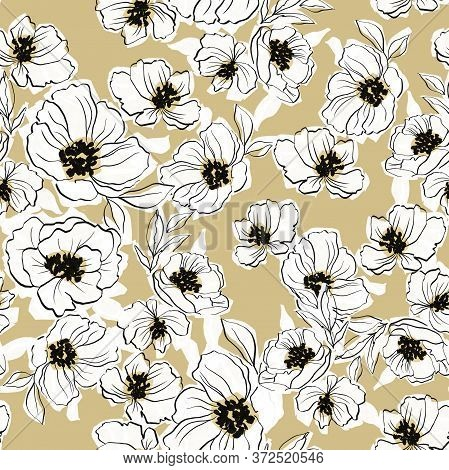 Modern Line Art Floral Seamless Repeat Pattern Design, Yellow Beige Background, Rough Line Flower Ha