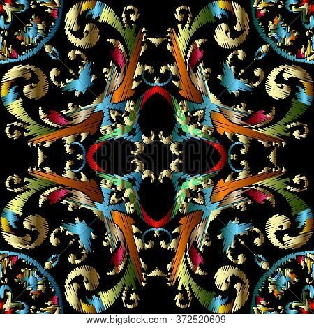 Embroidery Baroque Vector Seamless Pattern. Colorful Floral Grunge Background. Tapestry Wallpaper. C