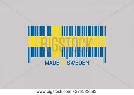 Made In Sweden. Barcode In The Form Of The Flag Of Sweden. Isolated On A Gray Background. Business.