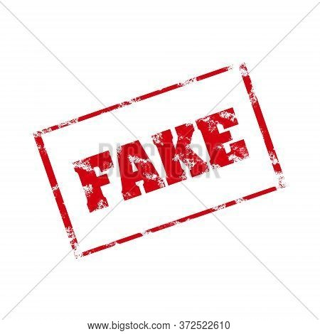 Fake. Stamp Isolated On White Background. Technologies. Cheating Fake News