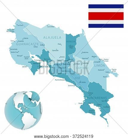 Costa Rica Administrative Blue-green Map With Country Flag And Location On A Globe.