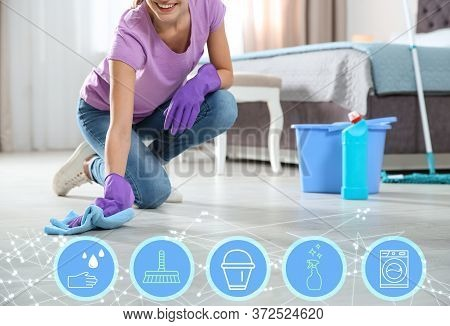Young Chambermaid Washing Floor In Bedroom And Different Icons, Closeup