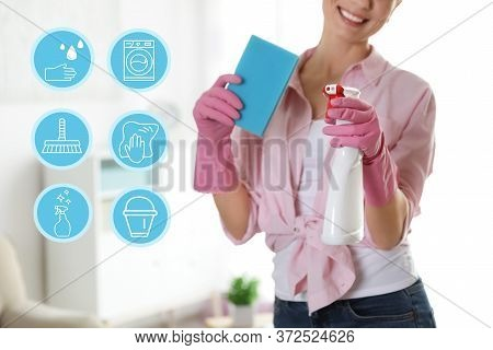 Young Chambermaid And Different Icons Indoors, Closeup