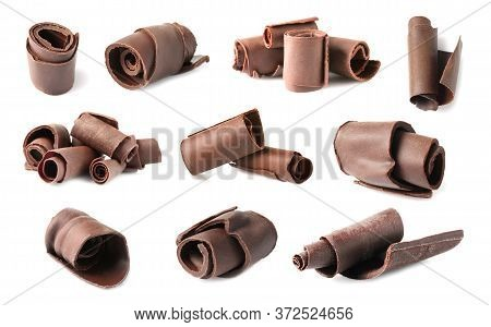Set With Chocolate Shavings On White Background
