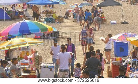 Santa Monica Beach Is A Popular Place In The City - Los Angeles, United States - March 29, 2019