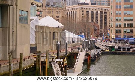 The Pier At Boston Harbor At New England Aquarium - Boston. Usa - April 5, 2017