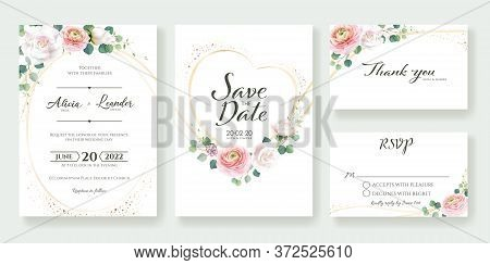 Set Of Floral Wedding Invitation, Save The Date, Thank You, Rsvp Card Design Template. Vector.