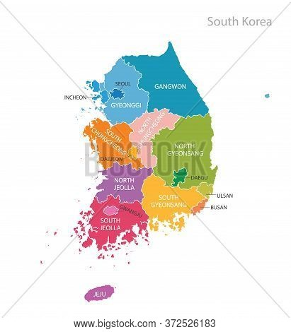 Colourful Map Of South Korea With City Names.
