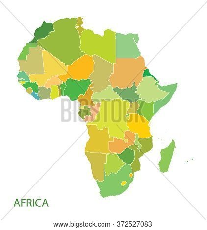 Colourful Map Of Africa Continent On White Background.