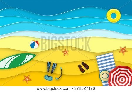 Sea Landscape With Beach, Waves, Surf Boards. Paper Cut Out Digital Craft Style. Abstract Blue Sea A