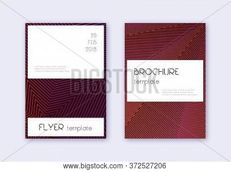 Stylish Cover Design Template Set. Violet Abstract Lines On Dark Background. Flawless Cover Design.